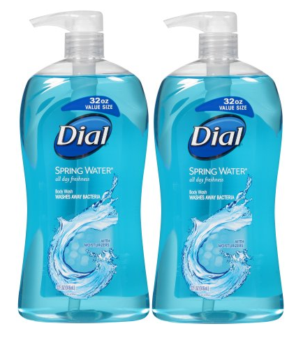 (2 Pack) Dial Body Wash with Moisturizers, Spring Water, 32 Ounce