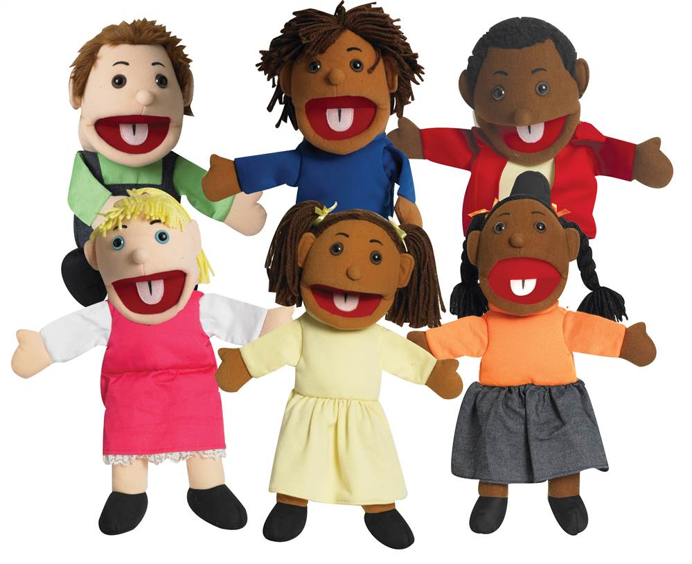 Ethnic Children Puppets Set of 6 by Children's Factory