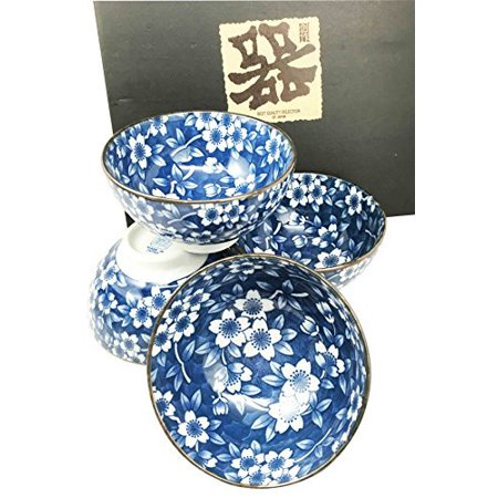 Made in Japan Blue Multi Pattern Glazed Ceramic Rice Meal Soup Dining Bowl Set 4.5