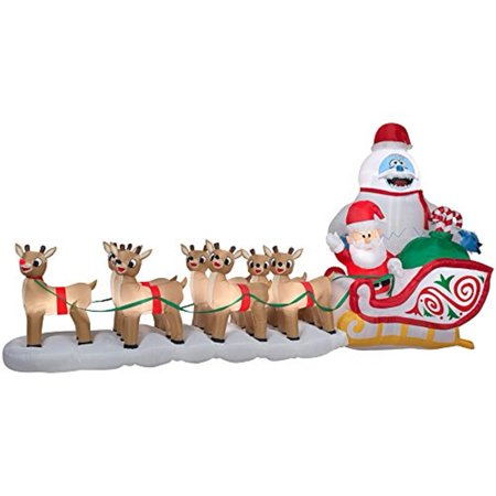 gemmy christmas colossal 165 santa bumble in sleigh airblown inflatable holiday yard decoration