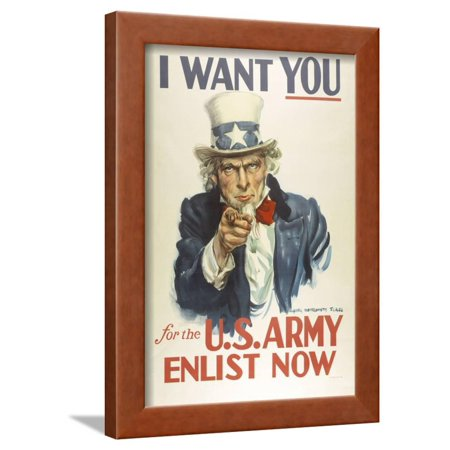 Military and War Posters: I Want YOU for the U.S. Army. James Montgomery Flagg Framed Print Wall (Montgomery Frames)