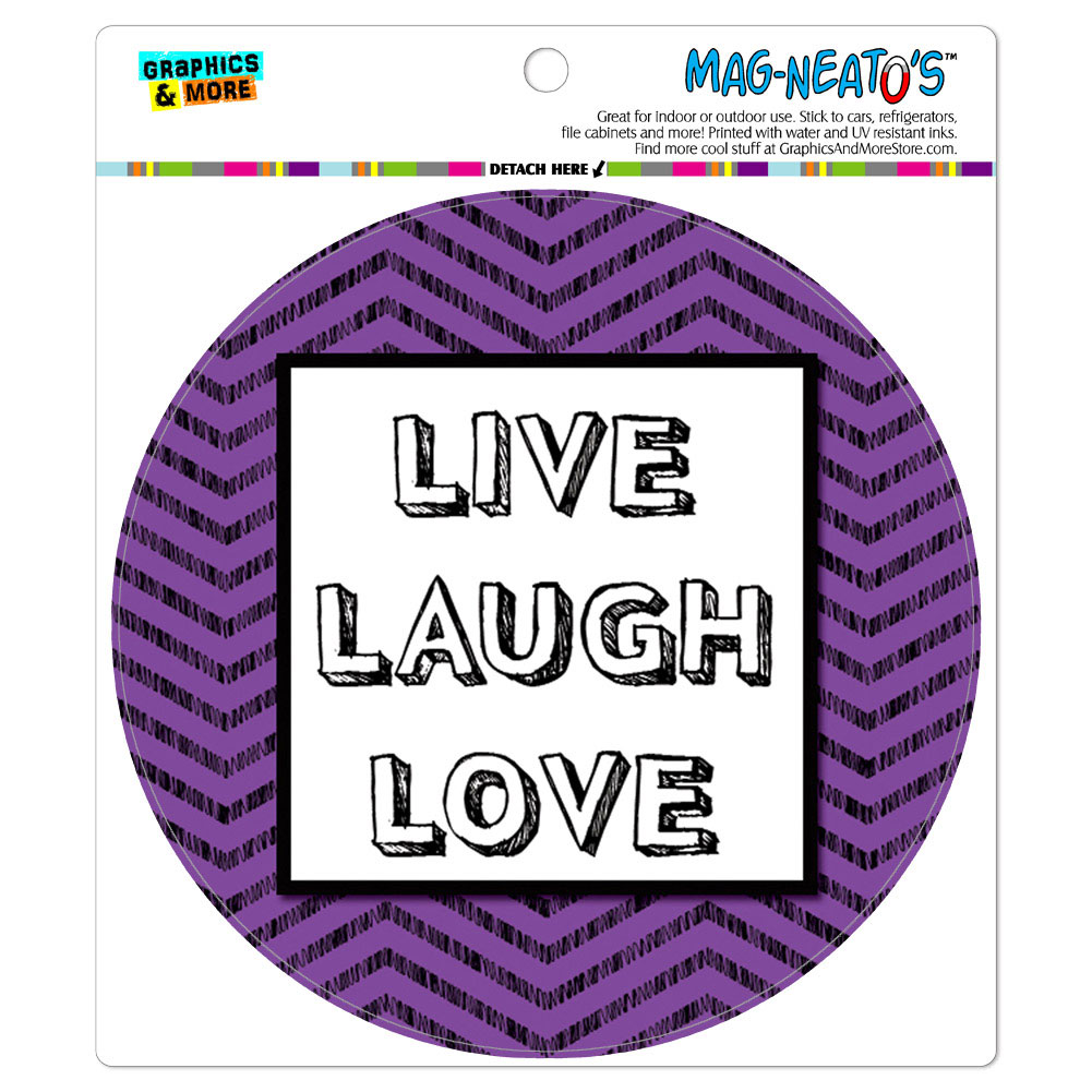 Live Laugh Love Chevrons Purple - Circle MAG-NEATO'S(TM) Car/Refrigerator Magnet