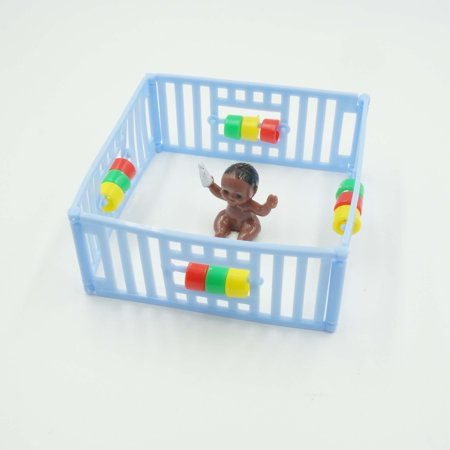 Blue Playpen with Black Dark Skin Baby Cake Topper Vintage Style Baby Shower Party Decoration](Blue Cake Company)