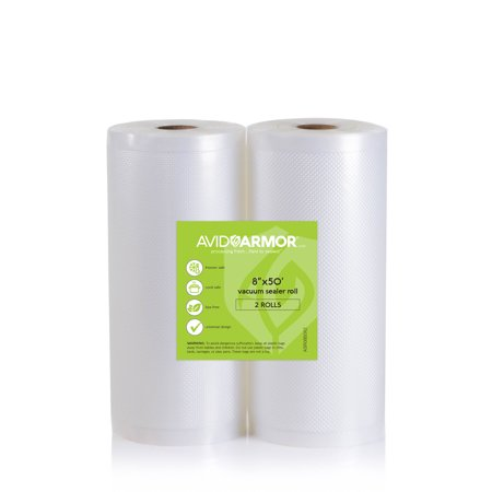 Two 8x50 Large Vacuum Sealer Rolls Easy Cut for Custom Bag Sizes 100 Total Feet for FoodSaver and Major Brand Vac Sealers | Avid Armor