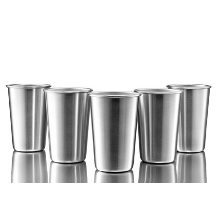 GHP 5-Pcs 16Oz Lead Free BPA Free Material Stainless Steel Drinking Glasses Pint Cups ()