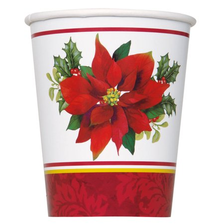 Holly Poinsettia Christmas Paper Cups, 9oz, 8ct](Christmas Paper Products)