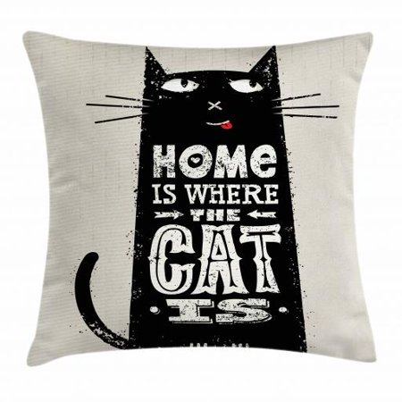 Funny Words Throw Pillow Cushion Cover, Tongue-in-Cheek Black Cat Figure with Inspirational Quote Stained Backdrop, Decorative Square Accent Pillow Case, 16 X 16 Inches, Black and Beige, by Ambesonne