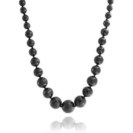 Black Onyx Faceted Graduated Bead Strand Necklace For Women Silver Plated Clasp 18 Inches Black Strand Cross