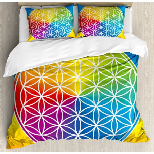 Ambesonne Hippie Abstract Peace Flower Child Youth Radiant Rainbow Toned Spiritual Lifestyle Design Duvet Cover Set