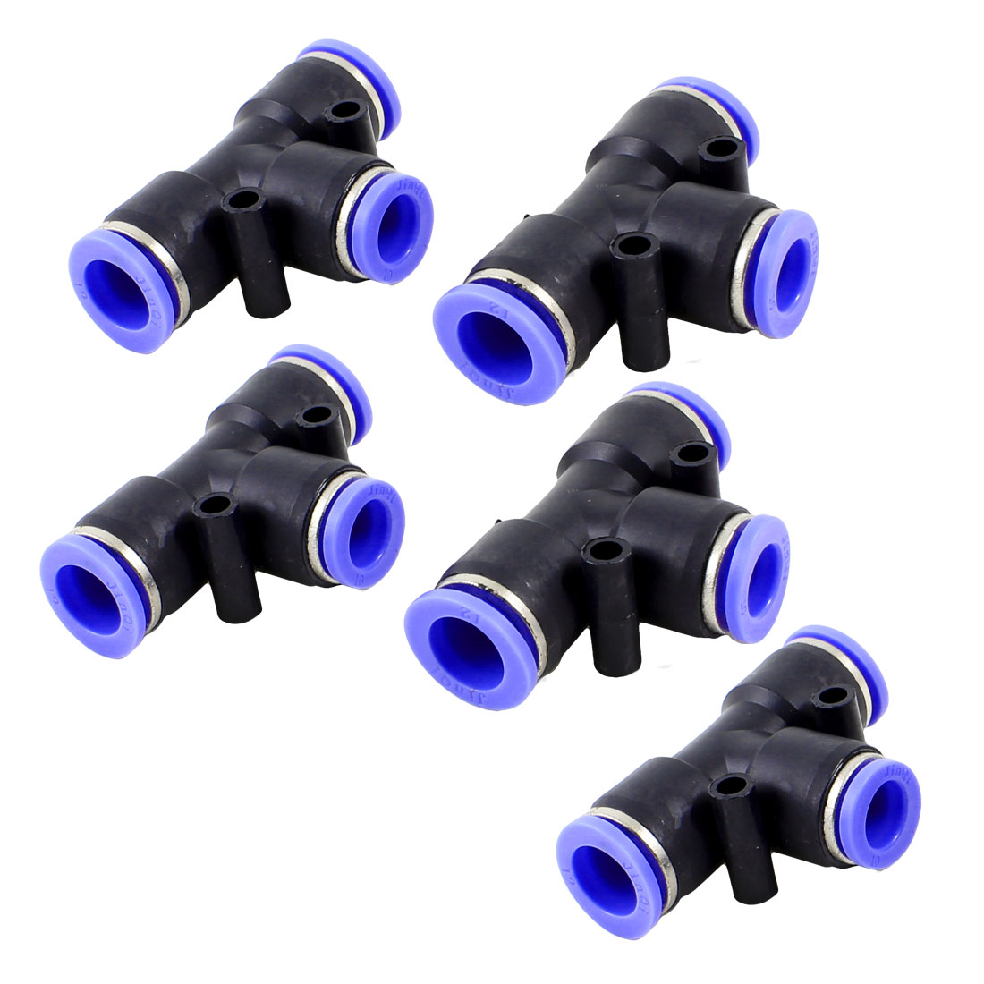 Air Pneumatic 12mm to 10mm Push In Pipe T-Joint Quick Fitting 5pcs