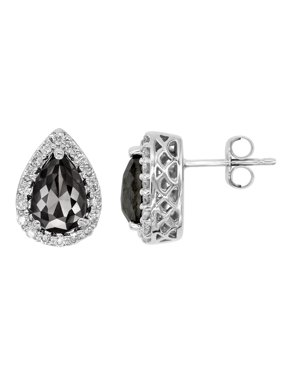 a27b91470 Product Image Romantic 1.50ct Patented Pear-shape Black Diamond Earrings  with White Diamond Halo, 14k
