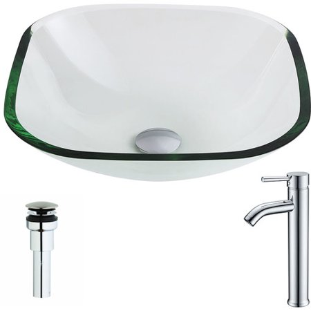 Anzzi LSAZ074-041 Cadenza Series Deco-Glass Vessel Sink in Lustrous Clear Finish with Fann Faucet in