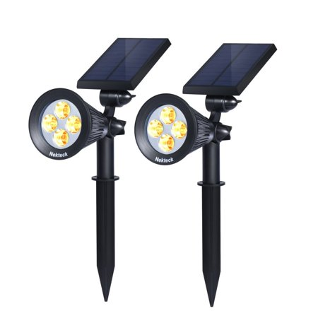 Nekteck Solar Powered Garden Spotlight - Outdoor Spot Light for Walkways, Landscaping, Security, Etc. - Ground or Wall Mount Options (2 Pack, Warm White)