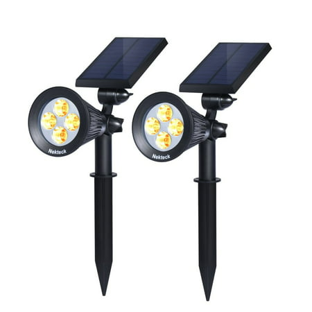 Nekteck Solar Powered Garden Spotlight - Outdoor Spot Light for Walkways, Landscaping, Security, Etc. - Ground or Wall Mount Options (2 Pack, Warm - Bronze Low Voltage Landscape Spotlight