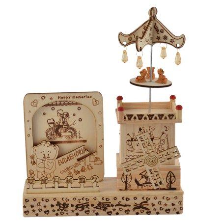 Birthday Gift Wooden House Shaped Windmill Decor Music Box Desktop Decor