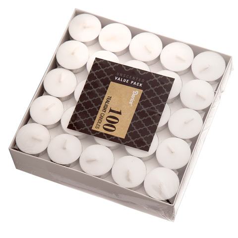 "Unscented Wax Tea Lights 1.5""X.5"" 100/Pkg-White"