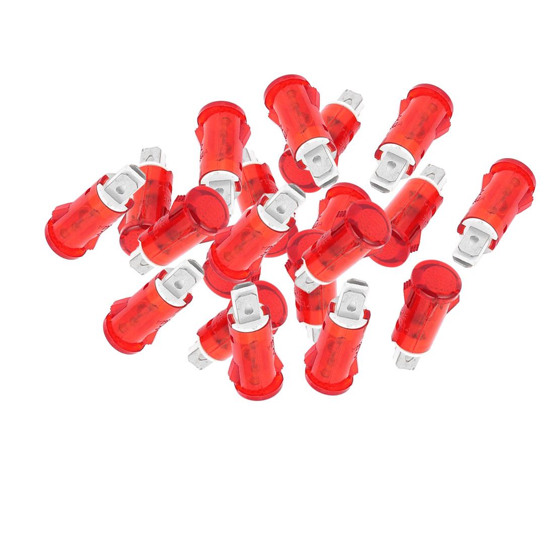 20 pcs DC12V DC24V AC220V plastique 10mm Diamètre Voyant rond rouge clair pilote - image 2 de 2