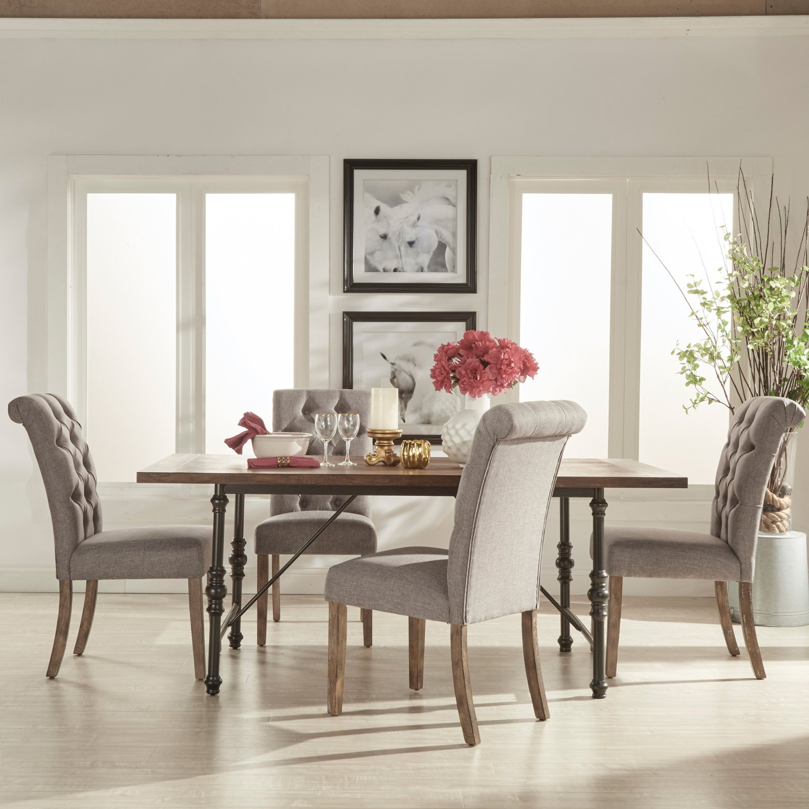 Homelegance 5 Piece Industrial Dining Set with Gray Tufted Chairs