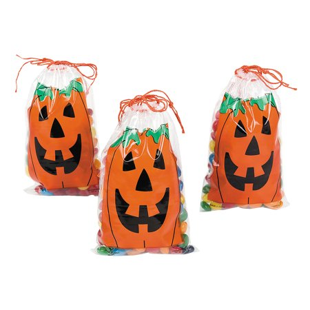 Halloween Birthday Goodie Bag Ideas (Fun Express - Mini JacK-O-Lantern Drawstring Bags for Halloween - Party Supplies - Bags - Plastic Bags - Halloween - 144)
