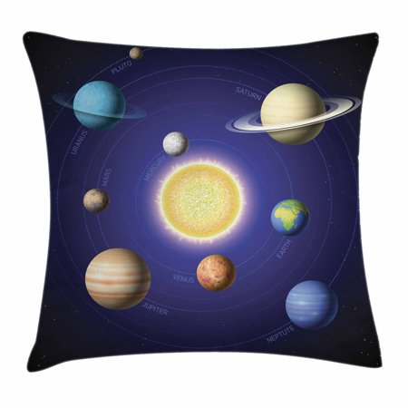 Space Throw Pillow Cushion Cover, Solar System Illustration Showing Planets around Sun Harmony of Galaxy Science Room Image, Decorative Square Accent Pillow Case, 18 X 18 Inches, Multi, by Ambesonne