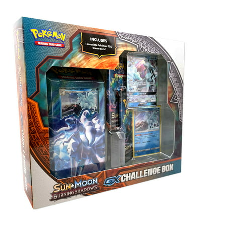 Pokemon Sun & Moon Burning Shadows GX Challenge Box- Featuring Lycanroc or Alolan Ninetales GX card |1 Theme Deck | Foil Card