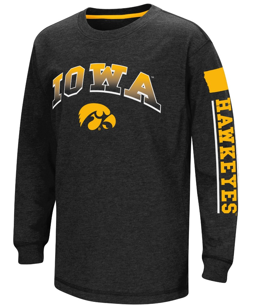 """Iowa Hawkeyes NCAA """"Grandstand"""" Long Sleeve Dual Blend Youth T-Shirt by Colosseum"""