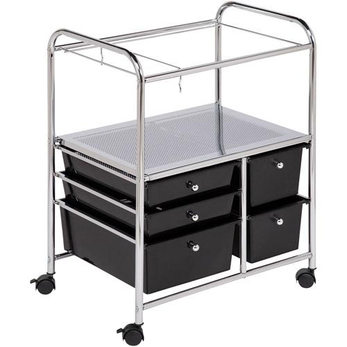 Honey-Can-Do 5 Drawer Hanging File Cart, Chrome/Black