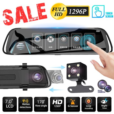 7'' HD 1296P Car DVR Dual Lens Camera Vehicle Rearview Mirror Dash Cam Recorder