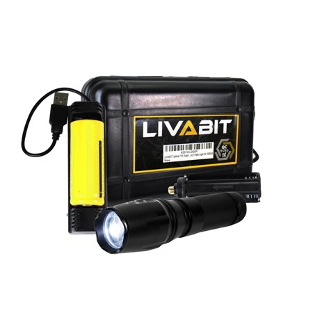 - LIVABIT Tactical T1K Super Bright Rechargeable LED Flashlight Kit 1000 Lumens for Emergency, Hiking, Camping, Hunting