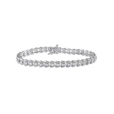 Miabella 2 Carat T.W. Diamond Sterling Silver Tennis Bracelet, 7