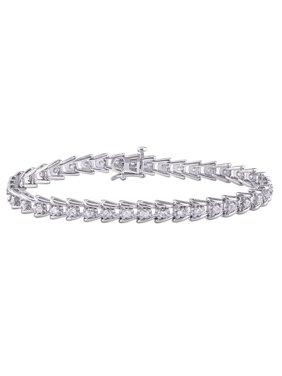 2 Carat T.W. Diamond Sterling Silver Tennis Bracelet, 7