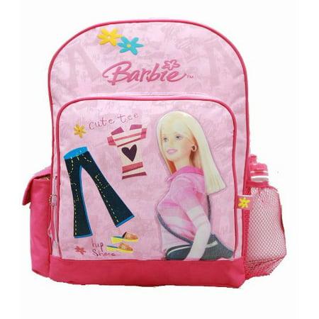 Backpack - - Pink Jeans - w/ Water Bottle (Large School Bag) New - Barbie Book Bag