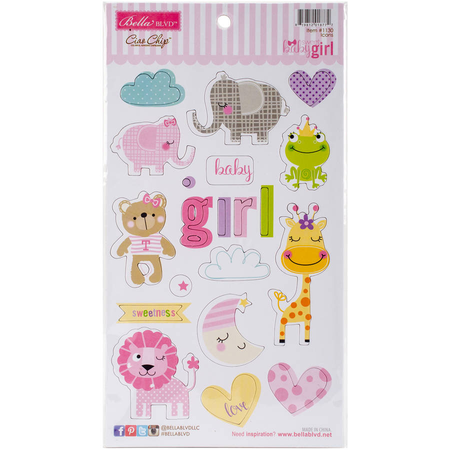 "Sweet Baby Girl Stickers, 12"" x 12"", Treasures and Text"