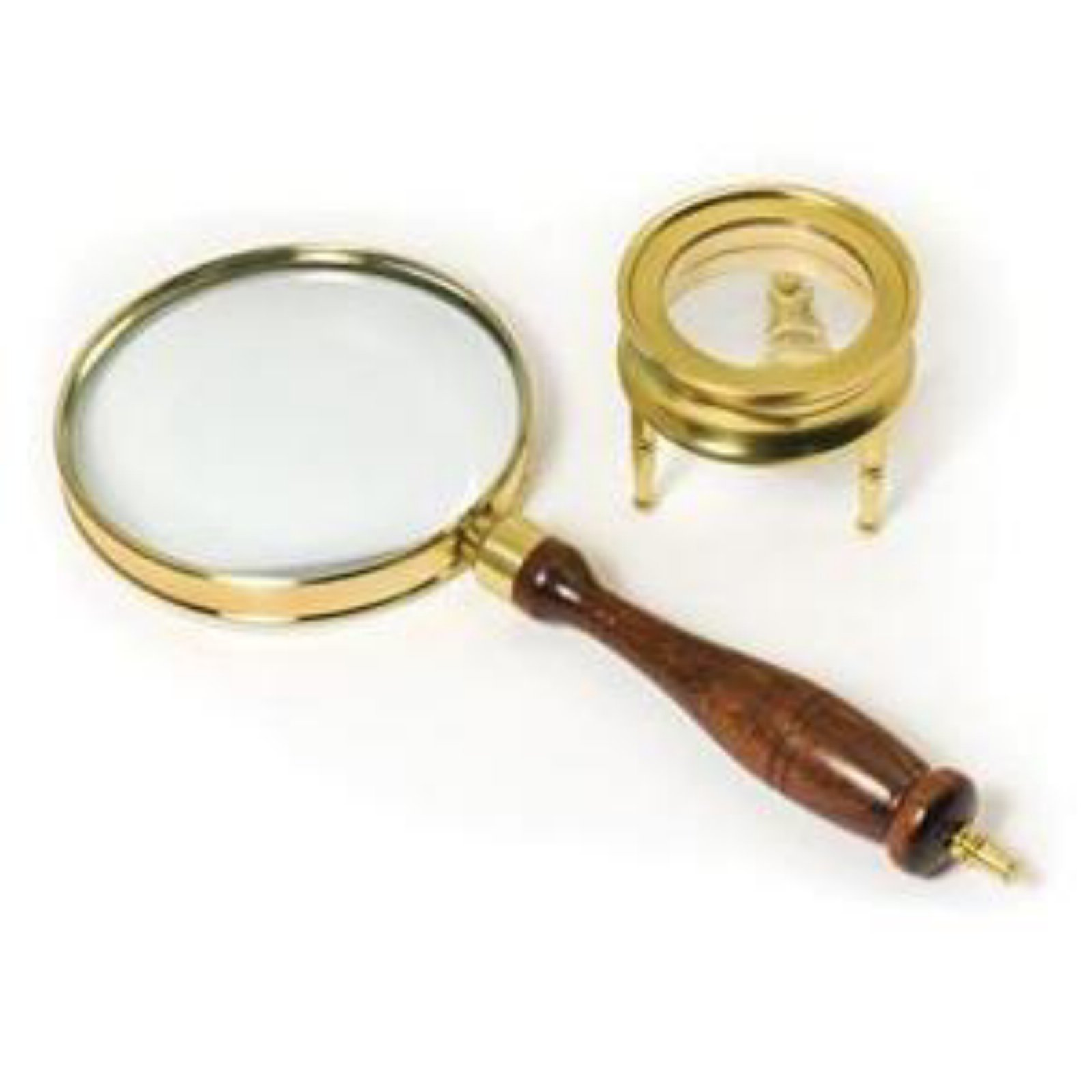 Barska Brass Hand-Held 90mm and 42mm Table Magnifiers