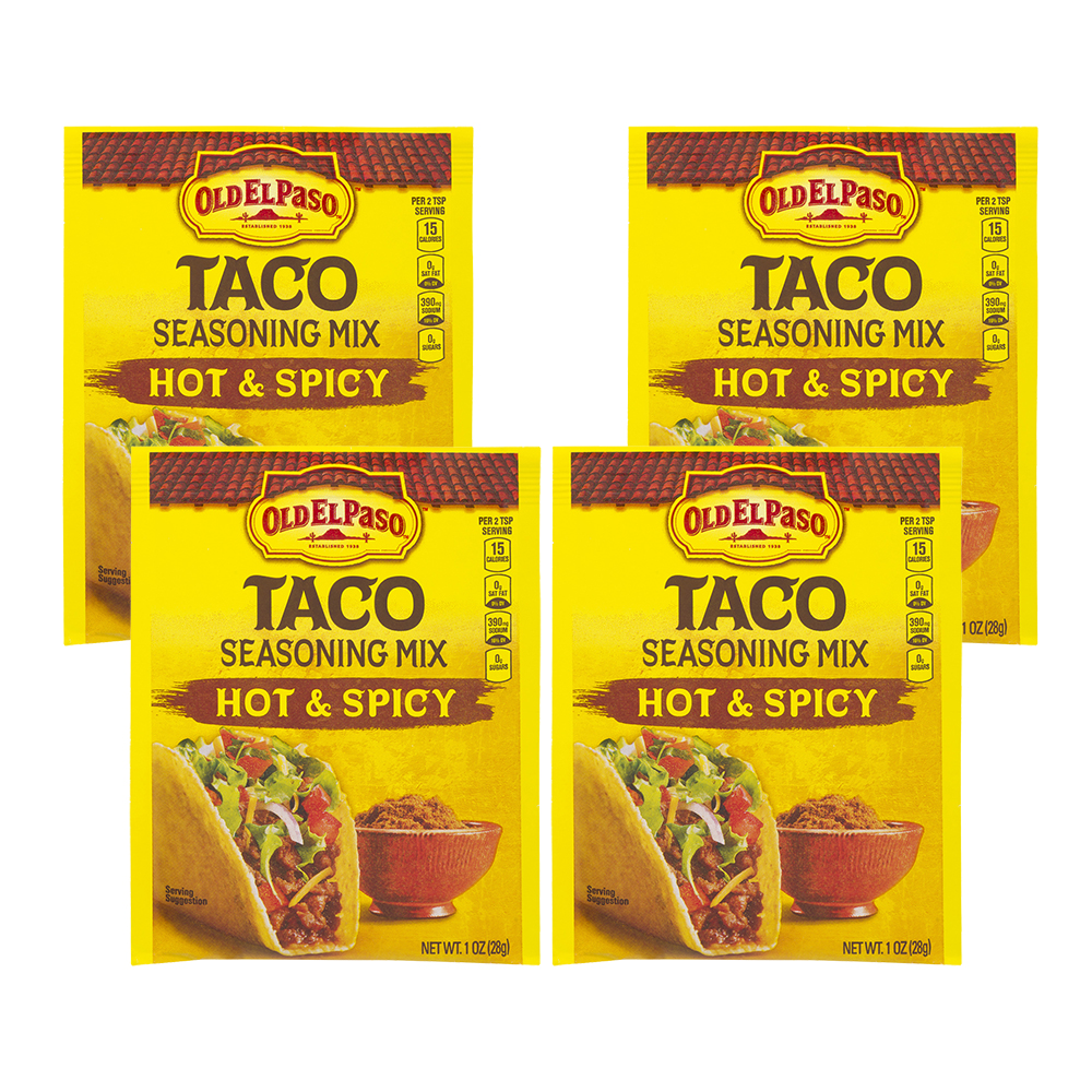 Old El Paso Taco Seasoning Mix Hot & Spicy, 1.0 OZ (4 Pack)