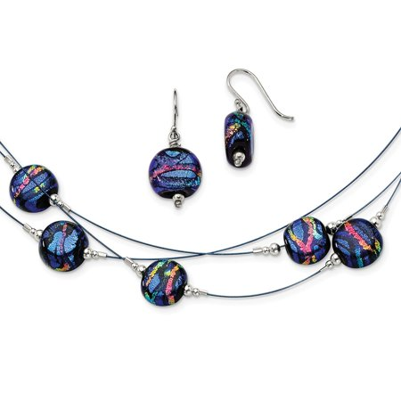 25mm Dichroic Glass (Solid 925 Sterling Silver Blue Dichroic Glass Earrings & 18in Necklace Set (12mm x 25mm) )