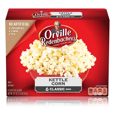 Orville Redenbacher's Kettle Corn Microwave Popcorn, 3.28 Ounce Classic Bag, 6-Count - Halloween Witch Hand Popcorn