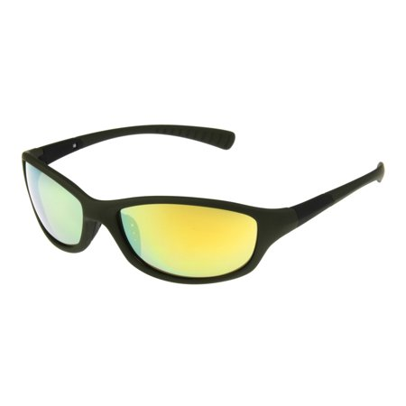 Foster Grant Men's Orange Mirrored Wrap Sunglasses (Orange Mirror Sunglasses)