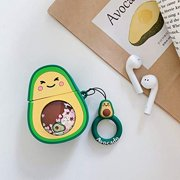 RED SHIELD Compatible with Apple AirPods Case Cover, 3D Avocado Cute Design Ring Strap, Soft & Cute Glitter Quicksand Silicone Cover Skin, Protective Airpods Accessories, Charging Case