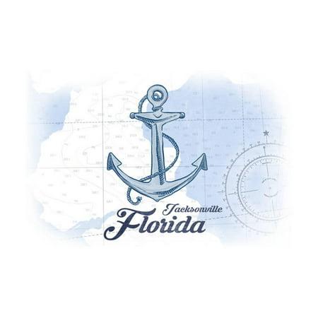 Jacksonville, Florida - Anchor - Blue - Coastal Icon Print Wall Art By Lantern Press