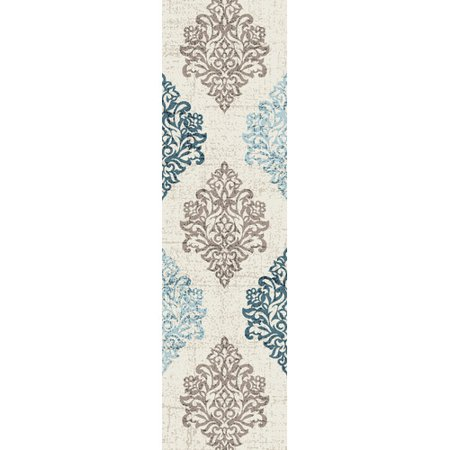 Transitional Damask High Quality Soft Blue Area Rug or -