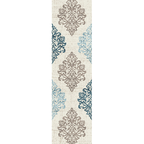 Transitional Damask High Quality Soft Blue Area Rug or Runner