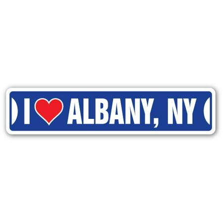 I LOVE ALBANY, NEW YORK Street Sign ny city state us wall road décor gift