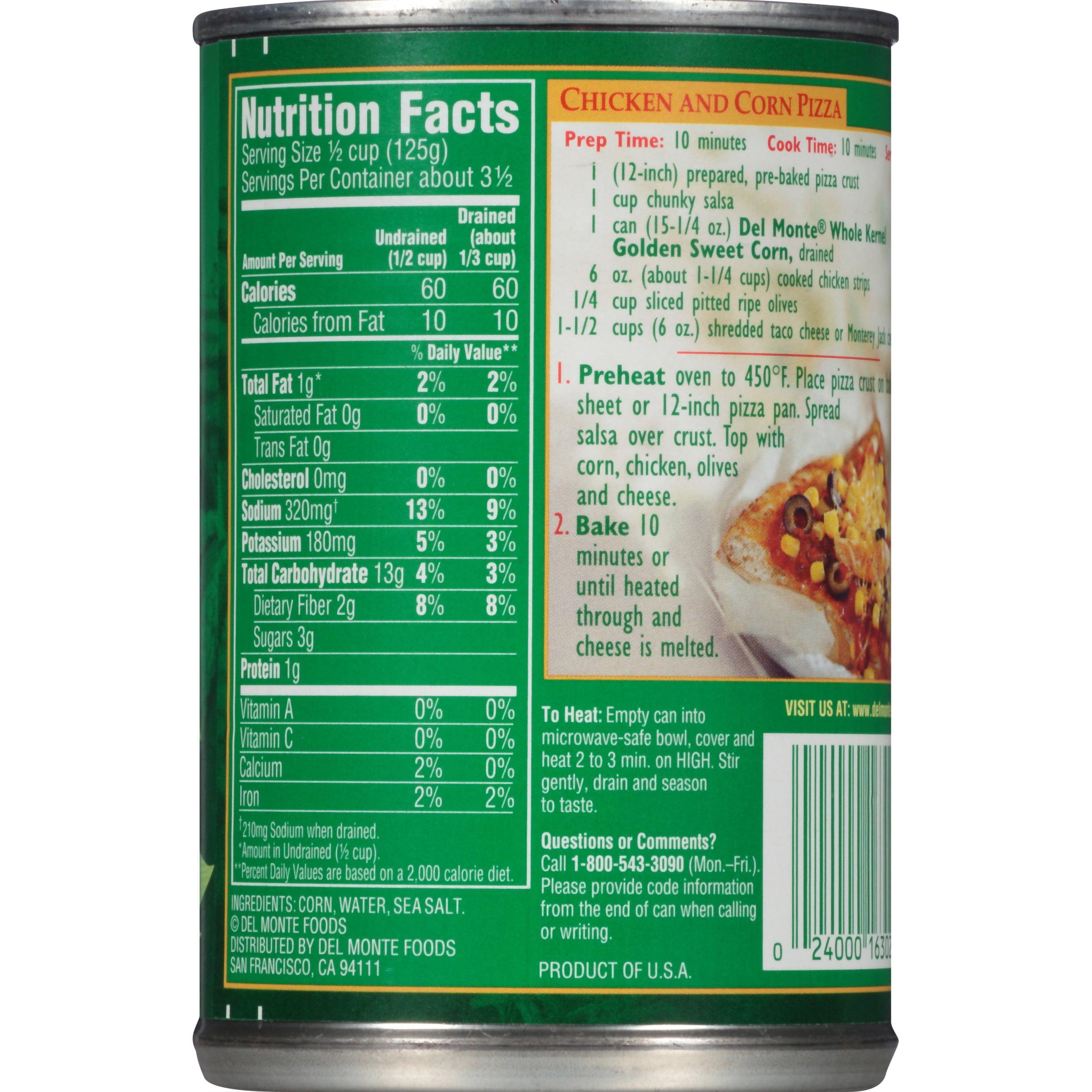 del monte whole kernel golden sweet corn 15 25 oz walmart com