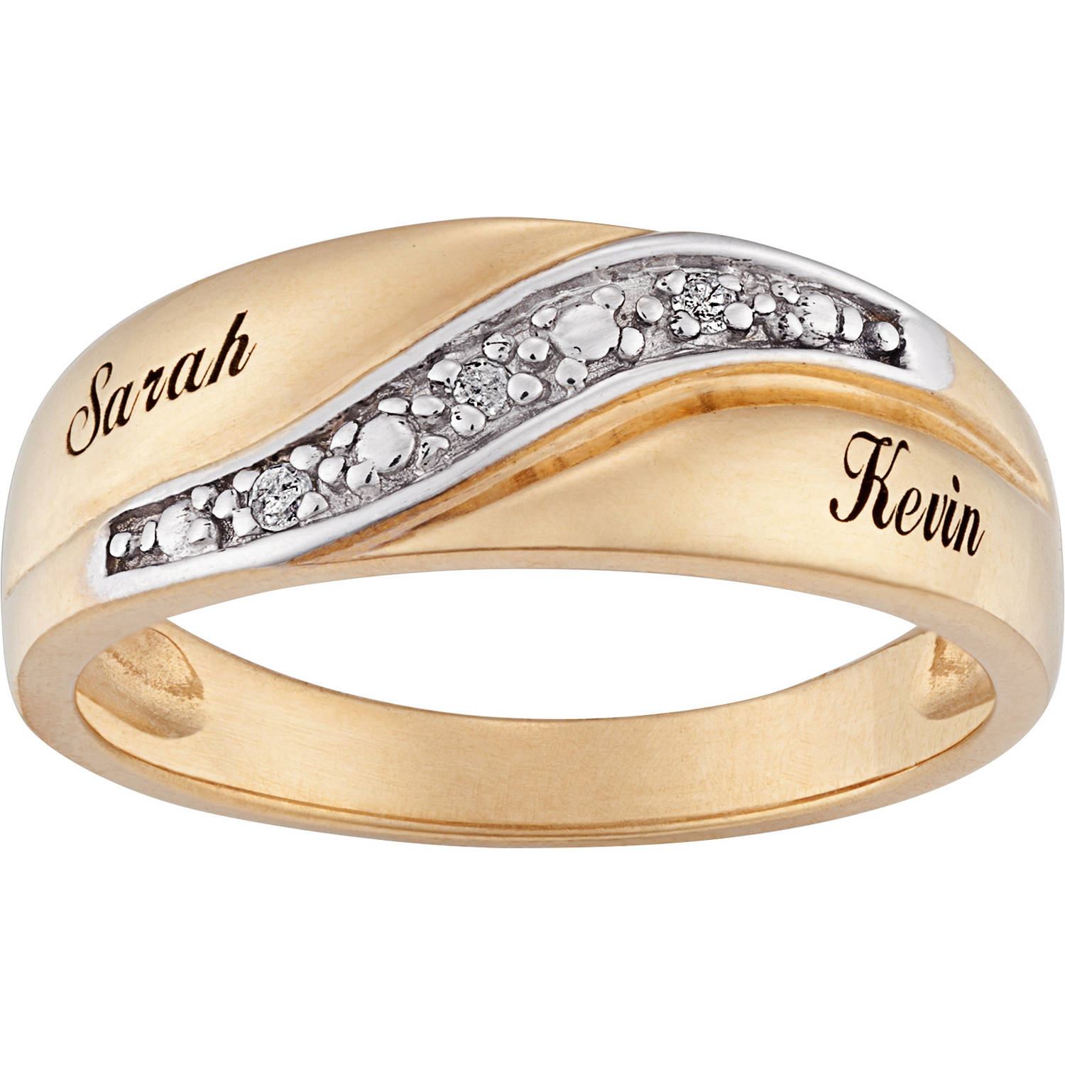 Personalized Men's Diamond Accent Name Wedding Band 18kt Gold Over Sterling Silver