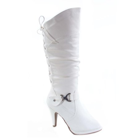 Page-65 Women's Round Toe High Heel Platform Mid-Calf Knee High Boots Shoes White Platform Boot