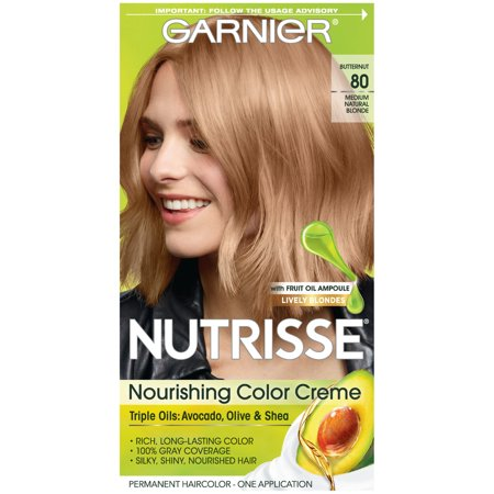 Garnier Nutrisse Nourishing Hair Color Creme (Blondes), 80 Medium Natural Blonde (Butternut), 1 kit