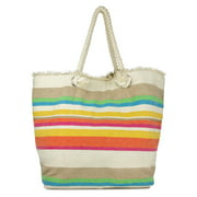 WOMEN'S MULTI-COLOR STRIPE OVER-SIZED COTTON BEACH TOTE BAG WITH ROPE HANDLE