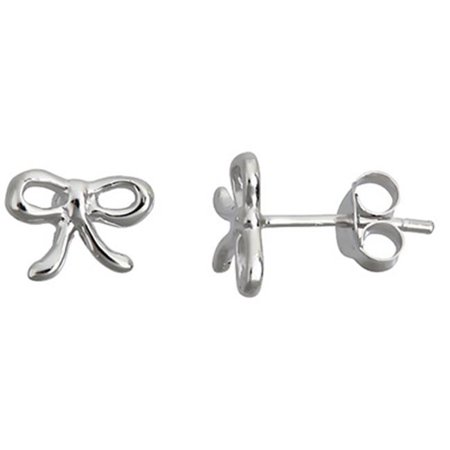 Sterling Silver Ribbon Stud