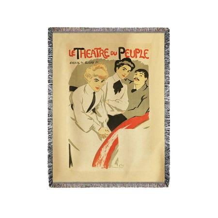 Le Theatre du Peuple Vintage Poster (artist: Hermann Paul) France c. 1898 (60x80 Woven Chenille Yarn Blanket) ()
